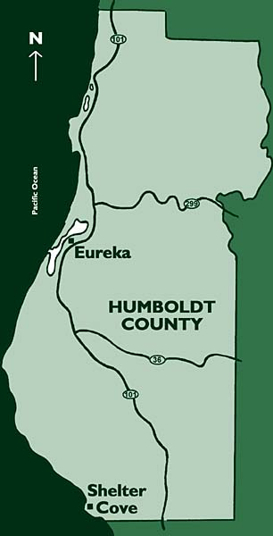 Map of Humboldt County showing location of Eureka, Shelter Cove and Pacific Ocean